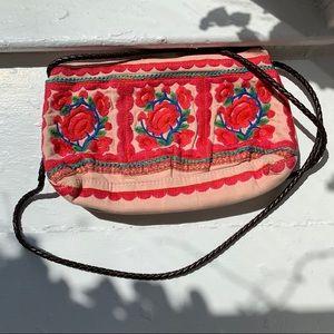 crossbody pink embroidered boho bag*FESTIVAL WEAR